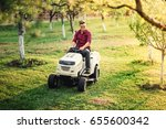 male using lawn mower and... | Shutterstock . vector #655600342