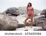 a beautiful tanned attractive... | Shutterstock . vector #655600486