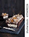 chocolate tart with meringue... | Shutterstock . vector #655608226
