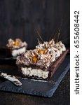 chocolate tart with meringue... | Shutterstock . vector #655608442