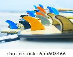 lots of surfboards laying on... | Shutterstock . vector #655608466