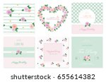 floral card templates set.... | Shutterstock .eps vector #655614382