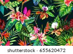 seamless tropical floral... | Shutterstock . vector #655620472