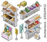 grocery store shelves filled...   Shutterstock .eps vector #655624912