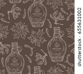 seamless pattern with a bottle... | Shutterstock .eps vector #655631002