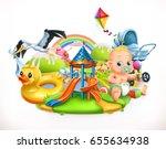 kids and toys. children... | Shutterstock .eps vector #655634938