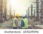 two young man architect on a... | Shutterstock . vector #655639096