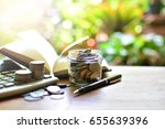 saving coins in bottle for... | Shutterstock . vector #655639396