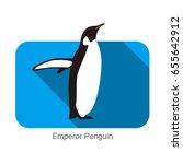 emperor penguin standing on the ... | Shutterstock .eps vector #655642912