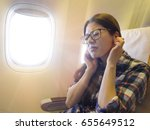 lovely sweet female traveler... | Shutterstock . vector #655649512