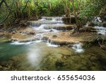 huay mae kamin waterfall ... | Shutterstock . vector #655654036