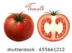 two tomatoes illustration  one... | Shutterstock .eps vector #655661212