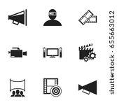 set of 9 editable cinema icons. ... | Shutterstock .eps vector #655663012