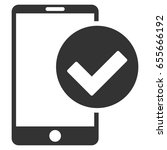 phone ok vector icon. flat gray ...