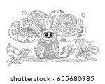 owl illustration for adult... | Shutterstock .eps vector #655680985