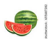 watermelon isolated on white... | Shutterstock .eps vector #655687282