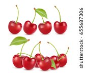 cherry realistic fruit vector... | Shutterstock .eps vector #655687306