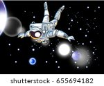astronauts fly in the space and ... | Shutterstock .eps vector #655694182