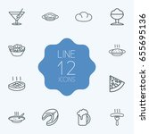 set of 12 food outline icons... | Shutterstock .eps vector #655695136