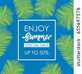 enjoy summer pattern logo... | Shutterstock .eps vector #655697578