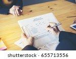job applicants having an... | Shutterstock . vector #655713556