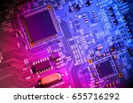 electronic circuit board close... | Shutterstock . vector #655716292