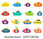 colorful submarines  icons set  ... | Shutterstock .eps vector #655718236