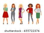 set women fashion office dress... | Shutterstock .eps vector #655722376