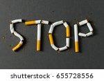 the word stop spelled using... | Shutterstock . vector #655728556