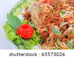 Banana Flower Bud Salad Food Vietnam Banana Flower Bud Salad - stock photo
