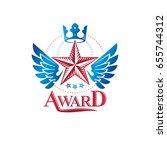 military star emblem  winged... | Shutterstock .eps vector #655744312