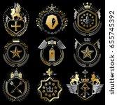 collection of vector heraldic... | Shutterstock .eps vector #655745392