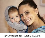 happy joyful young mother with... | Shutterstock . vector #655746196
