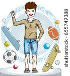 child young teen boy cute...   Shutterstock .eps vector #655749388