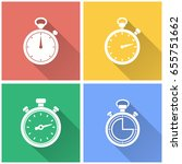 stopwatch vector icon with long ... | Shutterstock .eps vector #655751662