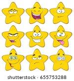 funny yellow star cartoon emoji ... | Shutterstock .eps vector #655753288