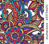 floral seamless pattern. doodle ... | Shutterstock .eps vector #655754692