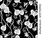seamless leaves pattern | Shutterstock .eps vector #655754902