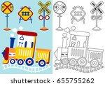 train with railroad signs ... | Shutterstock .eps vector #655755262