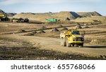 large dump truck on a road... | Shutterstock . vector #655768066