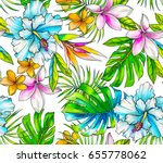 seamless tropical pattern with... | Shutterstock . vector #655778062