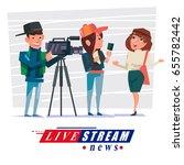 cameraman with journalist... | Shutterstock .eps vector #655782442