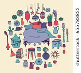 vector set of gypsy furniture... | Shutterstock .eps vector #655783822