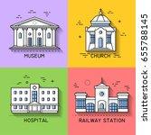vector set of public city... | Shutterstock .eps vector #655788145