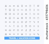travel and vacation icons | Shutterstock .eps vector #655798606