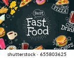 horizontal poster fast food.... | Shutterstock .eps vector #655803625