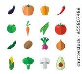 vegetable icons set. aubergine  ... | Shutterstock .eps vector #655807486