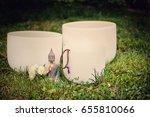 crystal singing bowls. buddha... | Shutterstock . vector #655810066