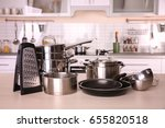 kitchenware for cooking classes ... | Shutterstock . vector #655820518