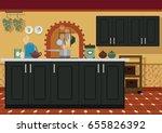 kitchen interior in... | Shutterstock . vector #655826392